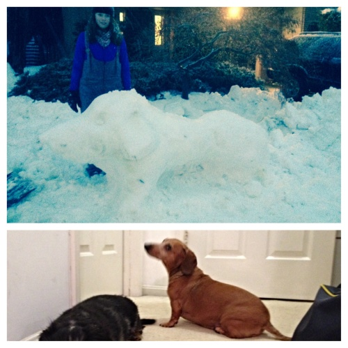 Dachshund Snow Sculpture at the Bed & Biscuit